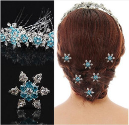 Wholesale wholesale wedding hair pieces - Frozen Bridal Hair Accessories Blue & White Silver Plated U Pins Party Hair Accessories Wedding Head Pieces