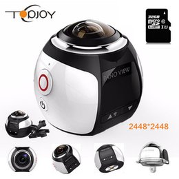 Wholesale panoramic camera - 360 Video Wifi Mini Panoramic Camera 2448*2448 Ultra HD 360 Degree Waterproof Sport Driving Action 2017 Best Selling DHL Shipping