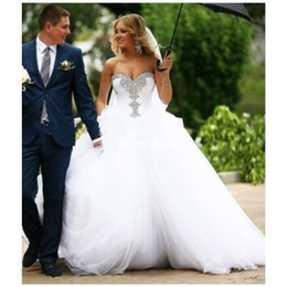 Wholesale Cheap Beach Balls - Arabic 2017 Summer Beach Ball Gown Wedding Dresses Sweetheart Beaded Neck Corset Back Puffy Tulle Plus Size Bridal Gowns for Wedding Cheap