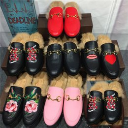 Wholesale Designer Shoes Boots Ladies - 2017 Fashion Brand Street Style Ladies Princetown Leather Slippers Velvet Fur Loafers Women Slides Slip On Flats Designer Lazy Shoes Woman B