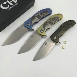 Wholesale Tops Knives China - Top Quality CH3504 China Skull Design S35VN Tactical Folding Knife TC4 Titanium Handle Hunting Survival Pocket EDC Best Gift Collection