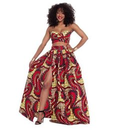 Wholesale Open Flare - 2017 Traditional African Club Party 2 Pcs Set Ladies Fashion Tube Top+ Long Side Open African Print Floor Length Flared Skirt Maxi Skirt