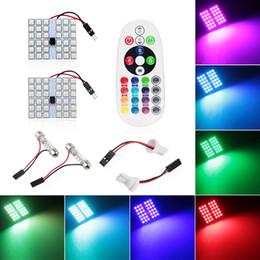 Wholesale Car Map Lights - 4X T10 5050 36SMD 16 Colors RGB LED Panel Car Auto Interior Reading Map Lamp Bulb Light Dome Festoon Remote Controller Flash Strobe