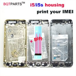 Wholesale I5 5s - For Iphone 5 Housing Back Cover for Iphone I5 5S Housing + Side Button Sim Card Tray Black   White   Gold