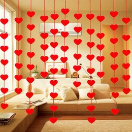 Wholesale Living Room Valance Curtains - Top Sale DIY 16 Hearts String Curtain Non-Woven Fabric Line Door Cortinas Wedding Party Window Living Room Valance Decor JI0249