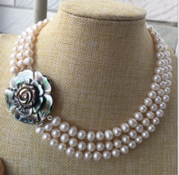 """2 Row 7-8mm south sea necklace white pearl necklace 17/"""" 18/"""" 14kAAAA"""