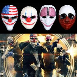 clowns en plastique Promotion Chaude Halloween Clown Masque Jeu Payday 2 Chaînes Dallas Wolf Hoxton Costume Robe Props Cosplay Partie Masque En Plastique masque IB321