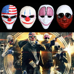 giochi di costumi Sconti Hot Halloween Clown Mask Gioco Payday 2 Catene Dallas Wolf Hoxton Costume Dress Puntelli Cosplay Maschera per feste Maschera di plastica IB321