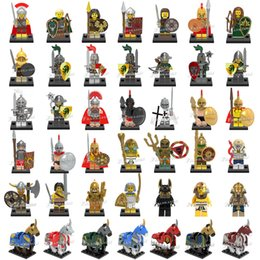 Wholesale 120pcs Mix Order Medieval Figures Atlantis Viking Egyption Warriors Dragon Knights Spartacus Armored Horse Mini Building Blocks Figure