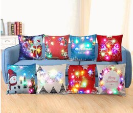 Wholesale Linen Cotton Sofa - Merry Christmas Flashing Pillow Case 45*45cm LED Light Pillows Cushion Cover Light Up Pillowcase Car Home Sofa Christmas festival Decoration
