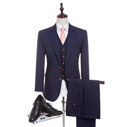 46b9b53b444032 New 4 Colors High Quality Worsted Wool Navy Blue Suits Men's suits Tailored Suit  Slim Fit Wedding Suit For Men(Jacket+Pant+Vest)