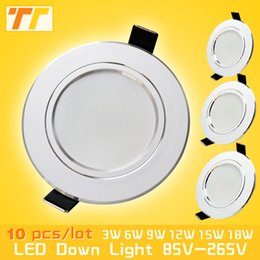 Wholesale Ceiling Led 7w Free Shipping - Wholesale- 10pcs lot led downlight lamp 3w 5w 7W 9w 12w 15w 18w 230V   110V ceiling recessed downlights round led panel light free shipping