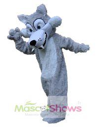 Wholesale Wolf Mascot Custom - Long Plush Grey Wolf Mascot Costume Fancy Dress Festiva Party Halloween