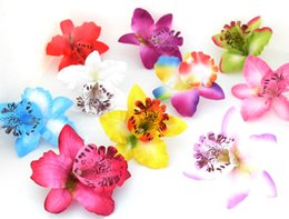 Wholesale Orchid Heads - flower head 50pcs Artificial Thai Orchid Silk Flowers Heads for Hair clip wedding Wreath decoration Craft A91
