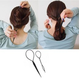 Wholesale Hair Clip Loop - Ponytail Creator Plastic Loop Styling Tools Black Topsy Pony topsy Tail Clip Hair Braid Maker Styling Tool Fashion Salon