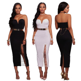 Wholesale Night Clubs Europe - 2017 Europe and the United States fashion solid color sexy wipes halter sleeveless Slim thin hip hip zipper dress