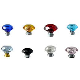 Wholesale Wholesale Glass Cabinet Pulls - Wholesale- 1pc lot 31mm Diamond Crystal Glass Alloy Door Drawer Cabinet Wardrobe Pull Handle Knobs New YL874052