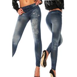 Wholesale Sexy Womens Stretch Tights Pants - Wholesale- Womens elastic waist Denim Butterfly Skinny high waist pantalon femme Stretch Sexy Pants Soft Tights Leggings