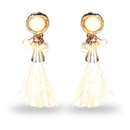 Wholesale 14k Solid Gold Beads - 2017 National Wind Stud Earrings Round Beads Bohemian Tassels High Grade Earrings Dainty Solid Color Jewelry For Girls women