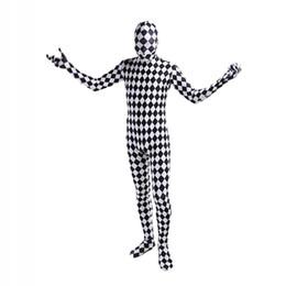 Disfraz de unitard blanco online-Disfraces de Cosplay de lycra de celosía en blanco y negro Unitard Spandex Full Body Zentai Catsuit para Halloween