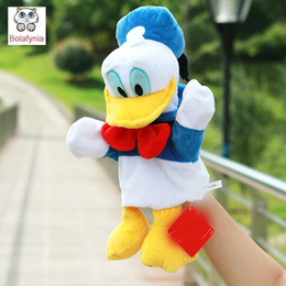 Wholesale Duck Puppets - Wholesale- Infant Children Hand Puppet cute dot cartoon duck with foot kids baby plush Stuffed Toy Puppets toys Christmas birthday gift