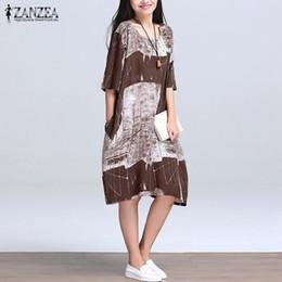 Wholesale casual folk style dresses - Wholesale- 2017 Summer Women Boho Casual Loose Folk Style Dress Vintage Floral Printed Half Sleeve O Neck Knee Length Dress Vestidos