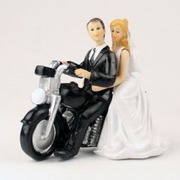 Wholesale Groom Dolls - Wedding Cake Toppers Bride Groom Motorcycle Doll Weddings Engagement Cakes Topper In Event And Funny Party Supplies Western Style Wedding