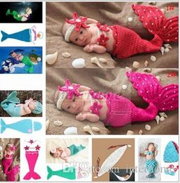 Wholesale Hats Props Newborn - Baby Shower Crochet Mermaid Swaddles Knit Costume Wraps Newborn Blankets Baby Photography Props Diamond Headband 3PCS set Outfit A1161 10