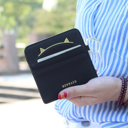 Wholesale Hanging Wallets - Wholesale- Lovely contracted paragraphs thin short wallet women purse card holder Lady mini wallet keys hanging drop Female card wallet bag