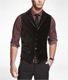 stili mens blazers moda nera Sconti Moda classica Velluto di velluto nero Gilet di lana a spina di pesce Stile britannico Abito da uomo su misura slim fit Blazer abiti da sposa per uomo P: 5