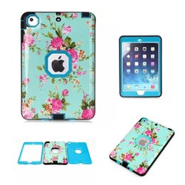 Wholesale robot painting - Combo Orchid Painting Case Cover For Apple iPAD mini 123 Cover Shockproof Kid Protector Case PC Silicone Hybrid Robot Protect for ipad 234