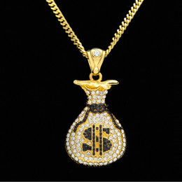 Wholesale Chain Link Purse - Rhinestones Money Sacks Hiphop Men's Jewelry Hip Hop $ Purse Pendant Necklaces Top Quality Party Accessories Wholesale 2017 New Arrival