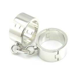 Wholesale Heavy Steel Cuffs - Heavy handcuffs metal bondage restraints stainless steel handcuffs bdsm slave fetish sex toys for woman adult games tools
