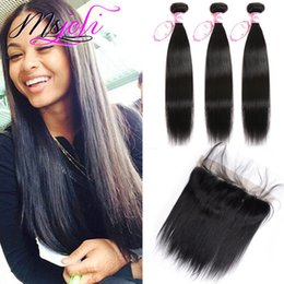 Wholesale Virgin Brazilian Lace Closure 1pcs - Brazilian Virgin Hair Weaves Extensions With 13x4 Lace Frontal Straight Ear To Ear Unprocessed Straight Closure with bundles 3+1Pcs Lot