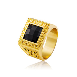 Wholesale Wholesale Bezel Set Cz - Men 18K Gold Hip Hop Iced Out Black Gemstone CZ Ring Punk Rock Jewelry Anillos Bar Club Midi Ring Men Finger Bling Bling Hip-Hop Ring
