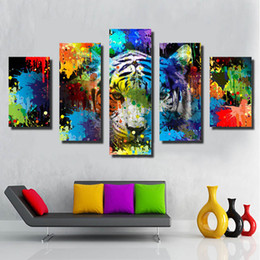 Wholesale Tiger Print Bedroom - 5 Pieces Animal Spray painting on canvas Home decor Wall Art colorful tiger Picture for Bedroom Printed poster