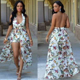 Wholesale Cheap Maxi Cotton Dresses - 2017 Split Sexy Bohemian Maxi Rompers Long Casual Summer Dresses Cheap Plus Size Printed Chiffon Dresses Halter Neck Sexy Backless FS1497