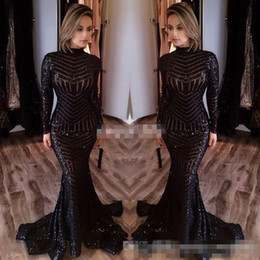 Robes michael costello en Ligne-Michael Costello 2017 Long Sleeve Evening Dresses Bling Bing Black Sequins High Neck Mermaid Sexy Celebrity Gowns Pageant Prom Dresses Cheap