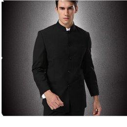 Wholesale Traditional Chinese Men Suit - Wholesale- (Jacket + Pants + tie) men business suits trousers Chinese tunic suit black new arrival Large Size Traditional Mandarin