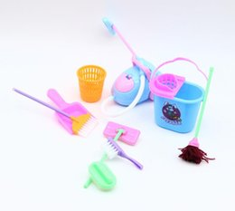 Wholesale Play House For Girls - 9pcs lot House Cleaning Mop Broom Tools Pretend Play Toy Kit For Girls Dolls Accessories Kitchen fruit