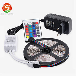Wholesale Free Remote Pc - DHL free shipping LED Strips 5M Set 3528SMD 60led LED Strip Light Waterproof 24Keys IR Remote Controller Power supply Adapter White Red RGB