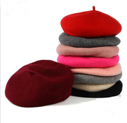 Wholesale Berets For Ladies - New Fashion 100%Women Adjustable Winter Wool Solid Berets Beanie Flat Cap High Quality Painter Hat For Lady 10pcs lot