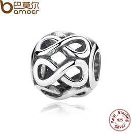 Wholesale Silver 925 Knot Bracelet - Wholesale-Authentic 925 Sterling Silver Knot INFINITE SHINE CHARM Fit Bracelet Necklace for Women Beads & Jewelry Making PAS305