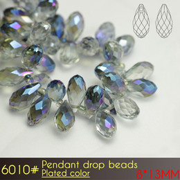Wholesale Making Stuff - Wholesale Teardrop Briolette Pendant Glass Beads 8x13mm Plated color A6010 100pcs set For Jewelry Making Stuff
