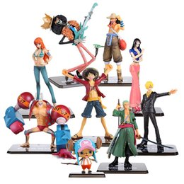 Wholesale one piece gift box - Toys One Piece PVC Action Figure Toys No Box Luffy Zoro Robin Nami Franky Brook Chopper Sanji Usopp Figurine For Gifts