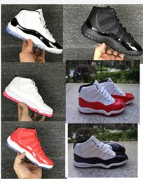 Wholesale Girls White Tops - 28-35 kids sneakers retro 11 basketball shoes 2017 for boys girls black red white legend gamma blue XI sale high top quality US 11C-3Y