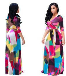 Wholesale Peplum L - 2017 new Women Casual Dresses Boho Style Fashion deep V Printed Party Maxi Dress Summer Traditional African Beach long dress