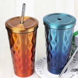 Wholesale Thermal Lens Mug - Gradient Thermos Straw Vacuum Glass 304 Stainless Steel Thermal Coforful Gradient Travel Coffee Tea Mugs With Lid Straw OOA2089