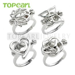 Wholesale Rhodium Jewelry Wholesale - WG41 Teboer Jewelry 10pcs Wholesale Rings Wish Love Pearl Cage Ring Lotus Butterfly Heart Rose Cages Mixed Designs