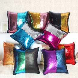 Wholesale Wholesale Decorative Pillowcases - Sequin Cushion Cover Mermaid Sequin Pillow Magical Color Reversible Changing Throw Pillow Cover Home Decorative Pillowcase Popular